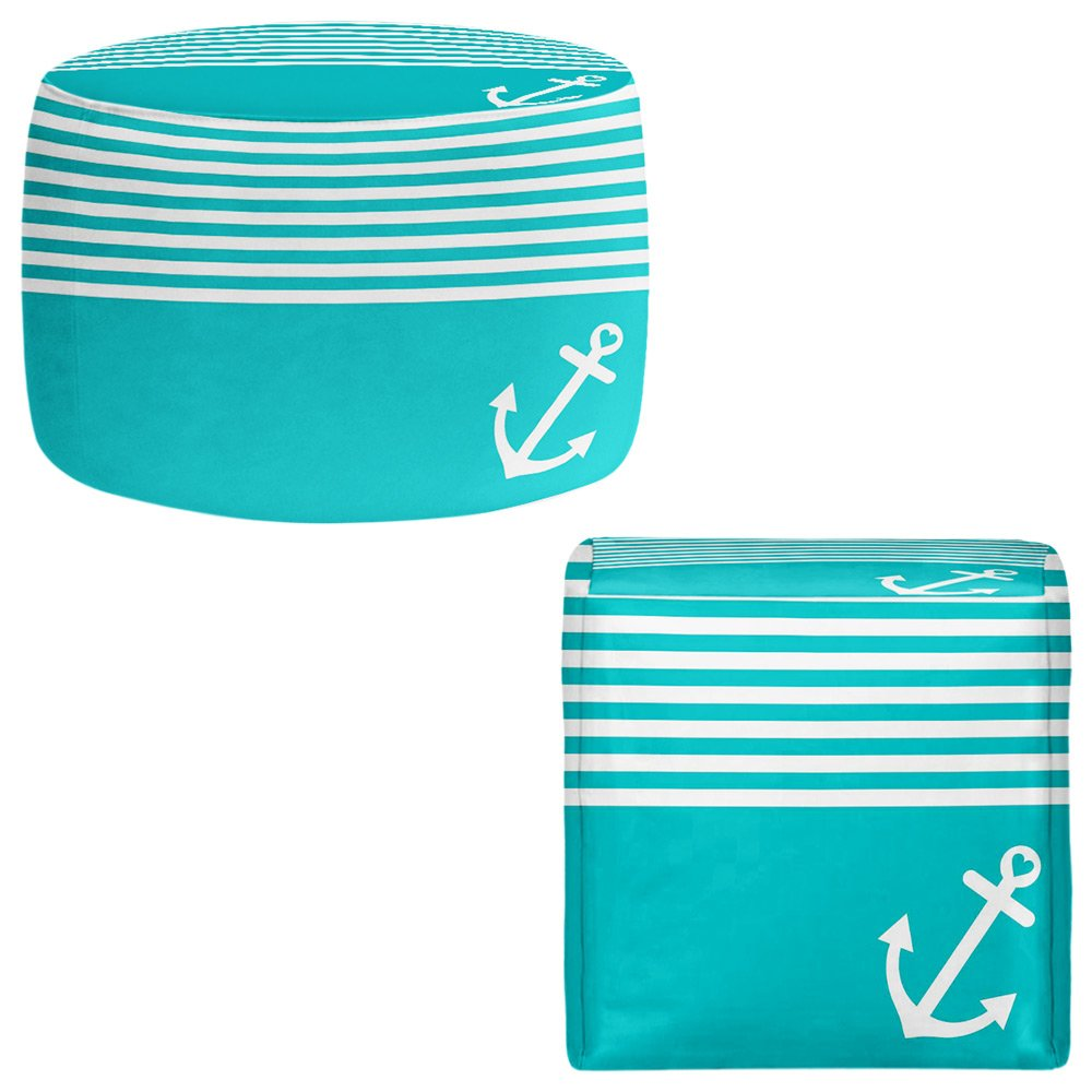 Foot Stools Poufs Chairs Round or Square from DiaNoche Designs by Organic Saturation - Teal Love Anchor Nautical