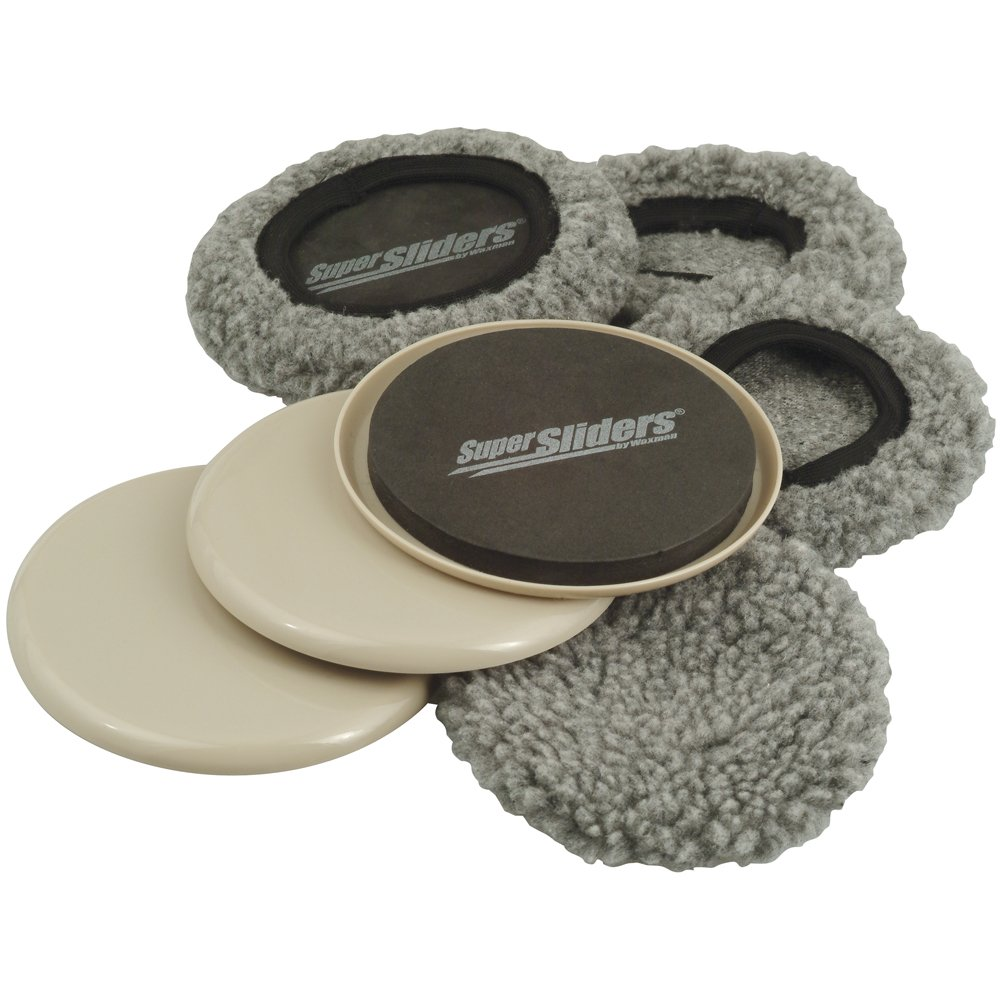 Supersliders 4703995N Multi-Surface 2-in-1 Reusable Furniture Carpet Sliders with Hardwood Socks- Protect & Slide on Any Surface 5'' Linen (4 Pack)