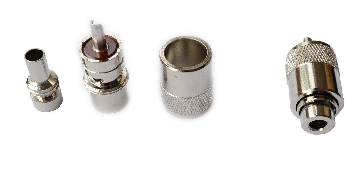 ycnk 5pcs male-plug UHF PL259 coaxial de soldadura para rg-8, 9, 213, 214, LMR400, Plata/teflón con reductores de ug-175 para RG-58 RG142 LMR195 tipo de ...