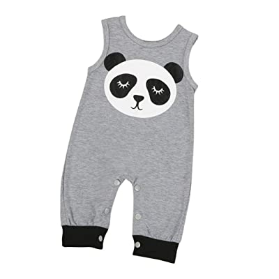 Baby's Romper, Anshinto Cute Baby Panda Print Sleeveless Romper Jumpsuit