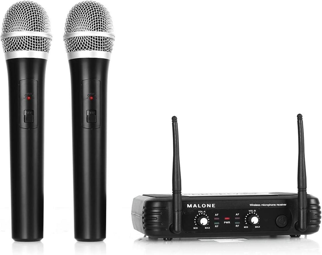 Malone UHF-250 Duo1 Juego de micrófonos inalámbricos (UHF, 2 Canales, Dos micrófonos de Mano sin Cable, batería de Larga duración, Dos Salidas XLR, una Salida Jack de 6,3 mm)