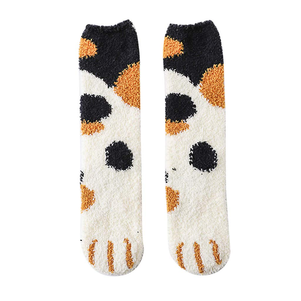 Caerling Damen Kuschelsocken Warme Wintersocken Süßes Cartoon Muster Hausschuhsocken Anti Rutsch Socken Korallenvlies Katzenkralle Socken, 5 Paar/6 Paar (1 Paar, Weiß)