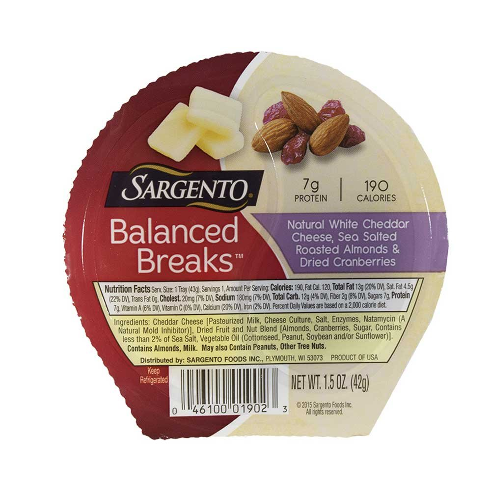 Sargento Balanced Breaks Single Natural White Cheddar Cheese with Almonds and Cranberries, 1.5 Ounce - 12 per case.