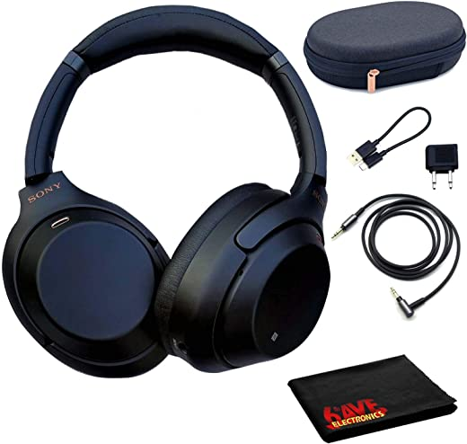 Sony WH-1000XM3 Wireless Noise-Canceling Headphones (Black) with Microfiber Cleaning Cloth