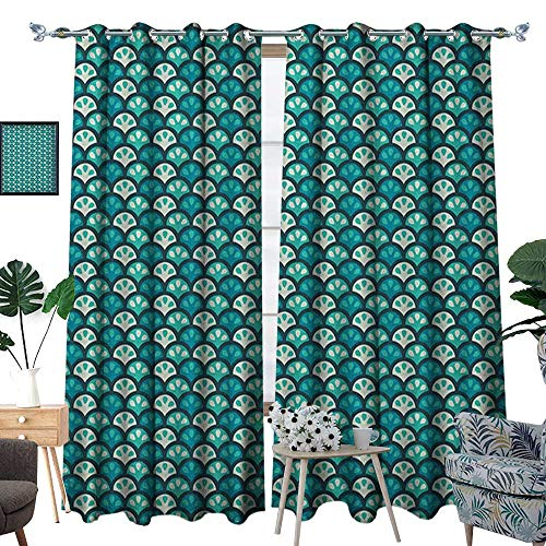 Warm Family Abstract Thermal Insulating Blackout Curtain Scales Pattern with Curvy Half Circles Citrus Fruit Tropical Lemon Art Patterned Drape for Glass Door W120 x L96 Sea Green Teal White