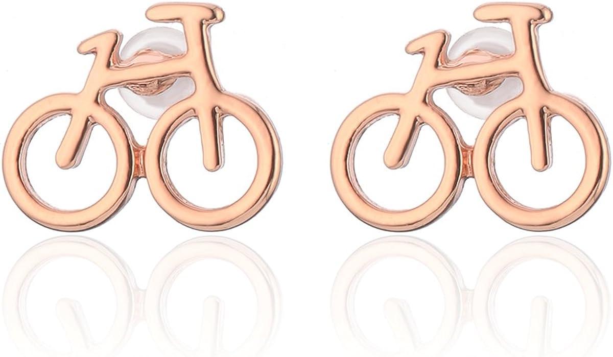 Pendiente de bicicleta Pendiente de chica Stud Plata Plata Oro Rosa Pendiente de acero inoxidable peque/ño Pendiente de bot/ón para mujer