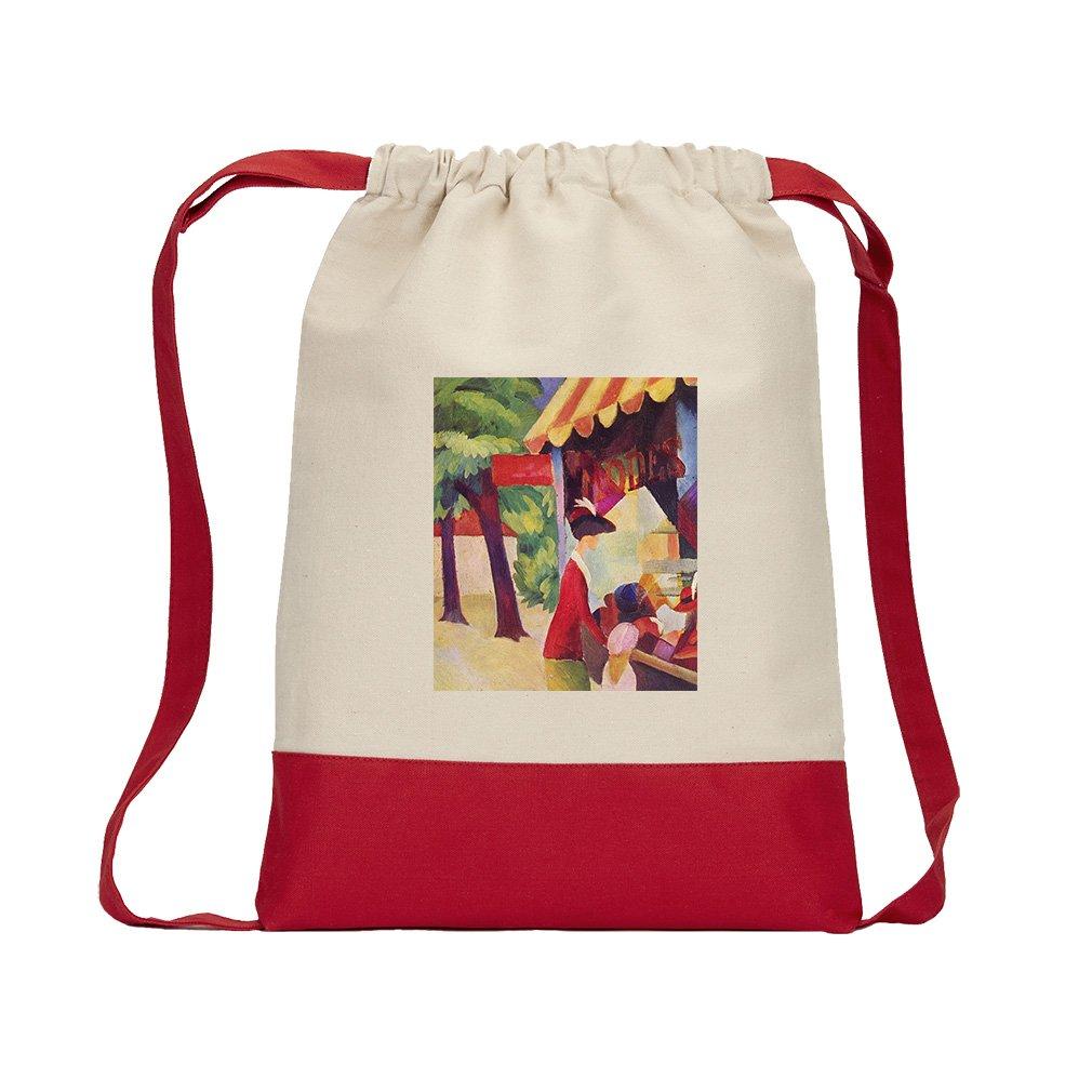 Hutladen Woman Jacket Child (Macke) Canvas Backpack Color Drawstring - Red