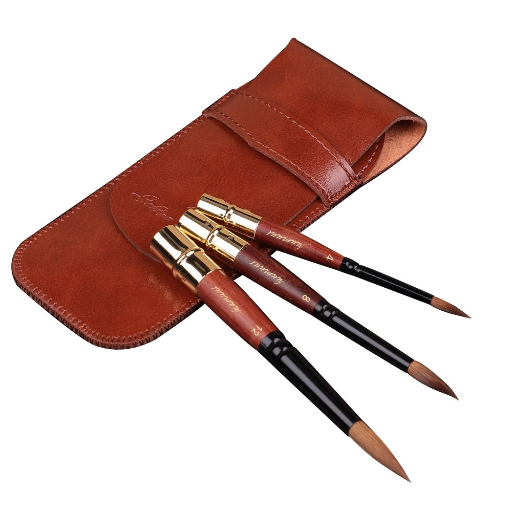 Fuumuui High-end Professional Art Travel Paint Brush Import Sable Hair Round Pointed Short Handle Brush for Acrylic Oil and Watercolor Painting with Pocket Sized Gift Package