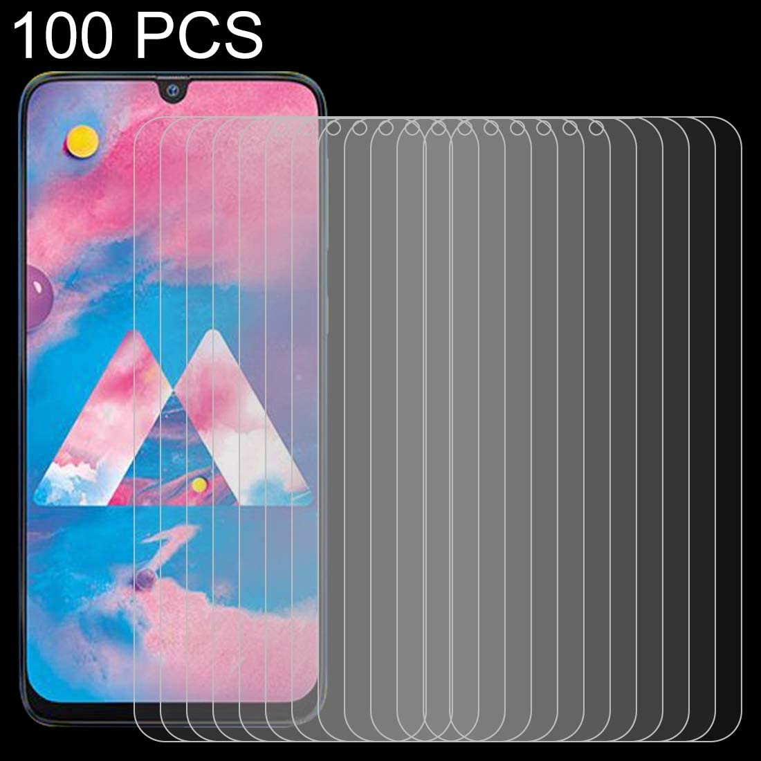 GzPuluz Glass Protector Film 100 PCS 0.26mm 9H 2.5D Tempered Glass Film for Galaxy M30