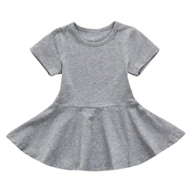 PAOLIAN Vestidos para Bebe Niñas Verano 2018 Sólido Plisada Vestidos Princesa Manga Corta Cuello Redondo Fiestas Vestidos Bebe Niñas bautiz DE 12 Meses 18 ...