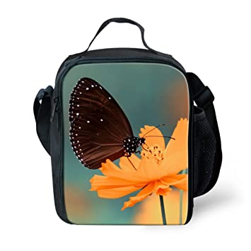 9da07241c7d Amzbeauty Butterfly Lunch Bag for Kids 3D Print Reusable Square Insulated  Lunch Box
