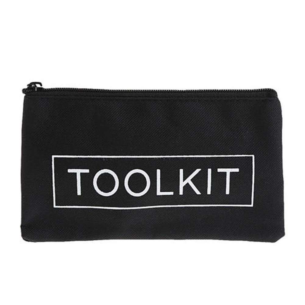 Zipper Canvas Tool Kit Bag,Simple Style Canvas Tools Set Bag,Pouch Waterproof Chainsaws Lawn Mowers Tool Bag(11.8cmx19cm,Black)