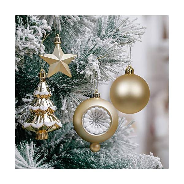Valery Madelyn Palle di Natale 100 Pezzi di Palline di Natale, 3-5 cm Eleganti Ornamenti di Palle di Natale Infrangibili Bianchi e Dorati per la Decorazione Dell'Albero di Natale 6 spesavip