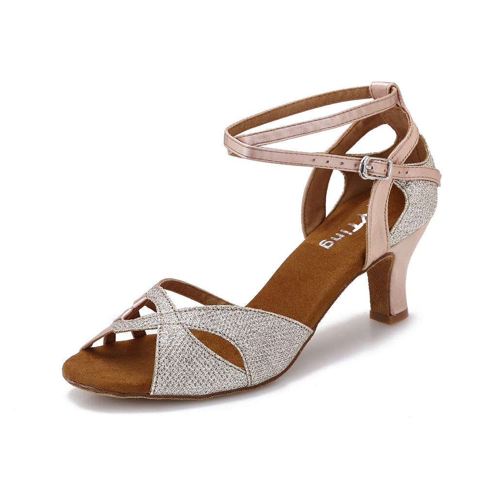 YYTing Women Ballroom Dance Shoes Salsa Latin Lyrical Sparkly Performance Dancing Sandals 2.5'' Heels (7.5, Nude) by YYTing