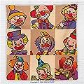 59 x 59 Inches Circus Decor Fleece Throw Blanket Funny Clowns Illustration Entertaining Childhood Artistic Joke Enjoyment Blanket