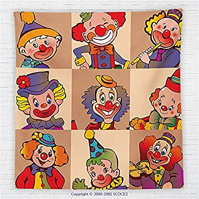 59 x 59 Inches Circus Decor Fleece Throw Blanket Funny Clowns Illustration Entertaining Childhood Artistic Joke Enjoyment Blanket