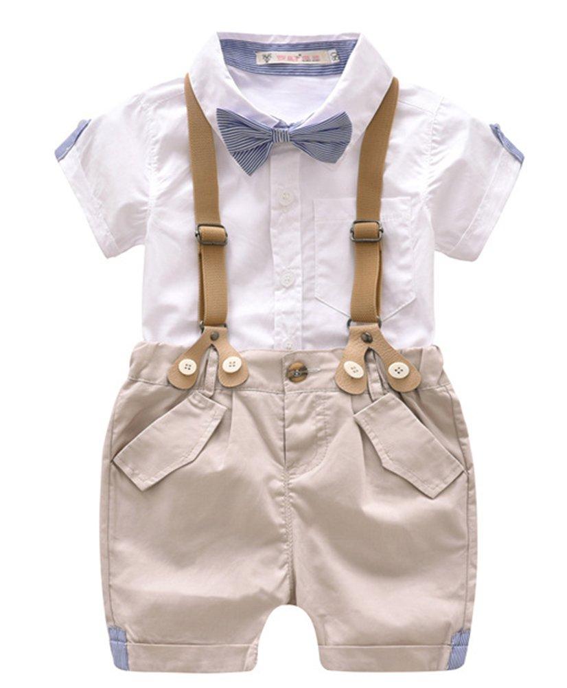 Toddler Baby Boys Gentleman Summer Suits Set Bowtie Shirt Bib Shorts Overalls (White, 100/Fit 3T)