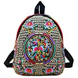 Women Vintage Flower Ethnic Embroidered Backpack Handmade Colorful Small Mini Travel Shoulder Bag Mochila Review