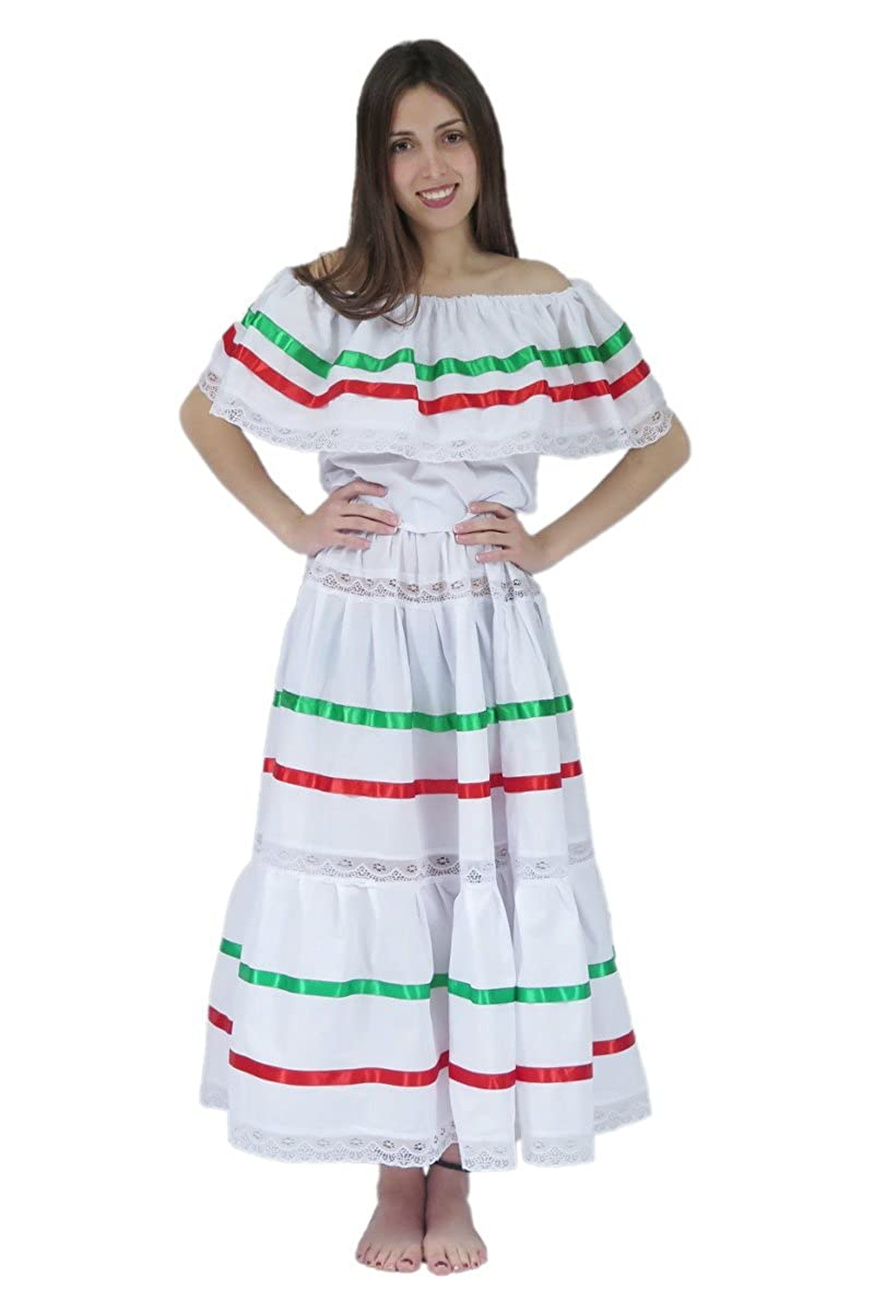 Señoras Mexicano White Fiesta Ribbon and Lace Poplin Dress - DeluxeAdultCostumes.com