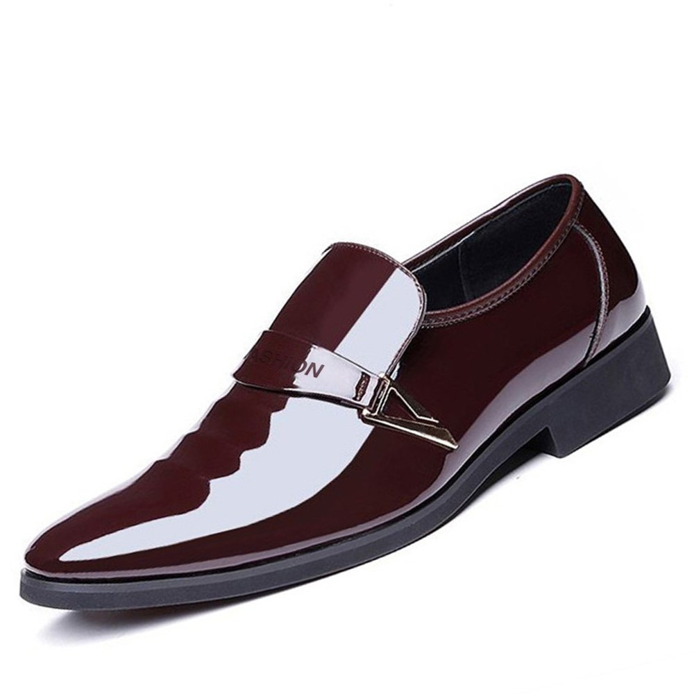 Blivener Men's Casual Dress Shoes Slip on Tuxedo Oxford Pointed Toe Brown 11