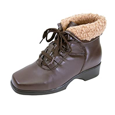 FIC PEERAGE Hazel Women Wide Width Leather Casual/Dress Lace Up Bootie (Size/Measurement Guide Available)