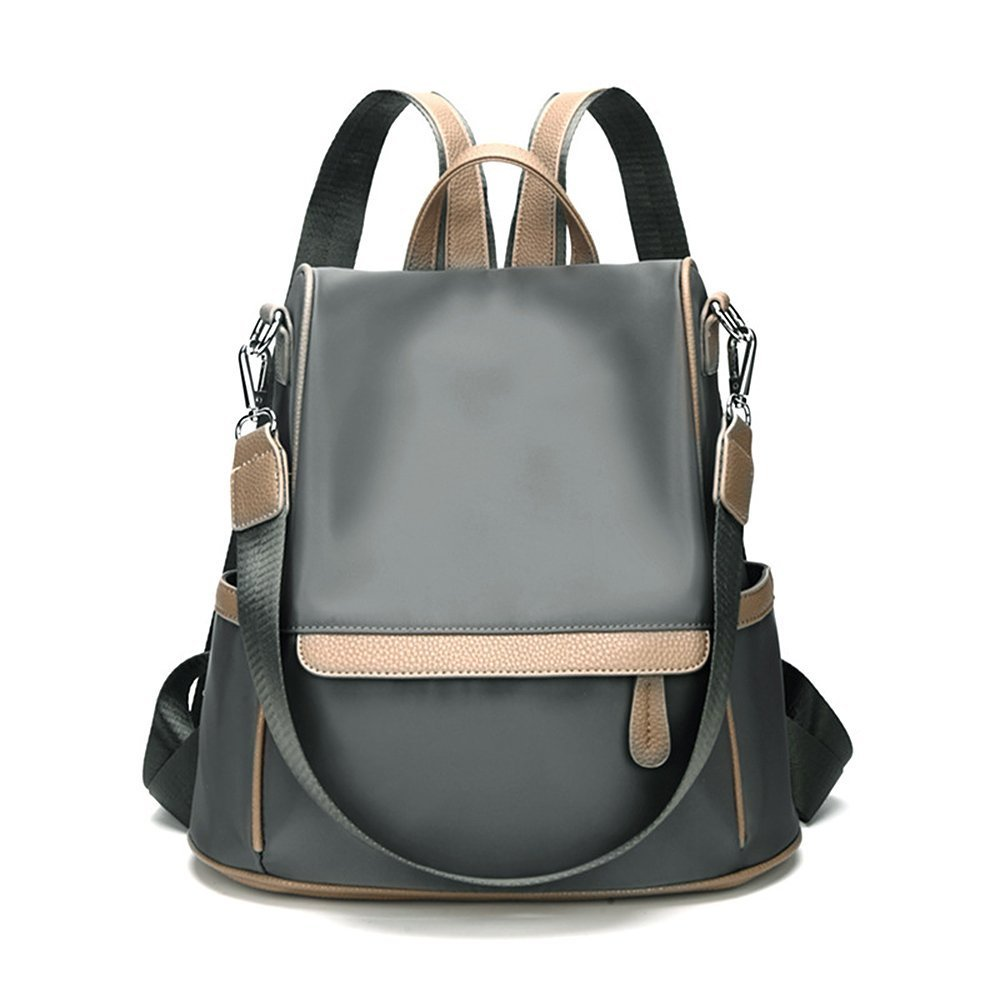 Olyphy Designer Nylon Backpack Bags for Women, Fashion Leather Shoulder Purse Bookbags (Gray)