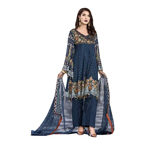 90f59248fa Image Unavailable. Image not available for. Color: Blue Pakistani Suit  Festive Collection Pants Style Heavy Wedding Salwar Kameez ...