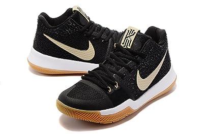 Nike Men's Kyrie 3 (GS) Sneakers Black/Linen Gum Light Brown 859466092 (