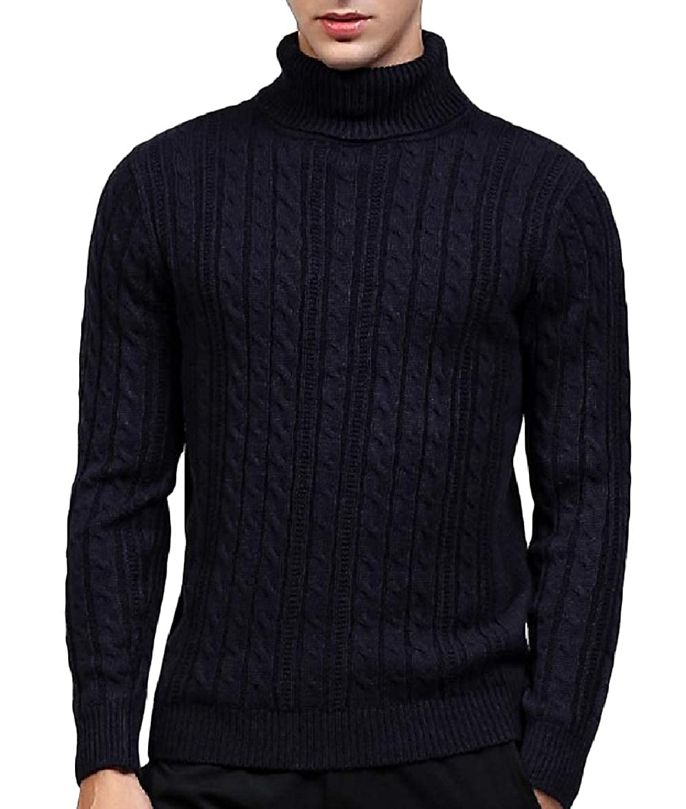 Abetteric Mens Long-Sleeve Turtleneck Knitted Warm Trim-Fit Cotton Sweater Pullover