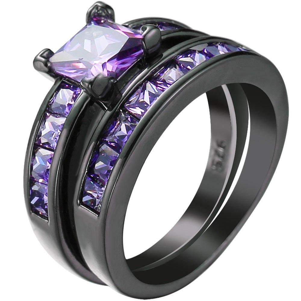 Women 2 PCS Purple Amethyst Cubic Zirconia CZ Black Gold Plated Vintage Ring Engagement Wedding Band Set 8