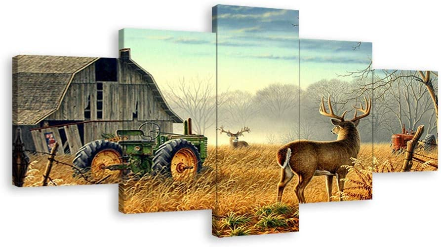 Canvas Wall Art Print Painting Picture Deer Country Wildlife Hunting Brown Themed Landscape 5 Panels Modern Artwork for Living Room Home Wall Decor Framed Ready to Hang