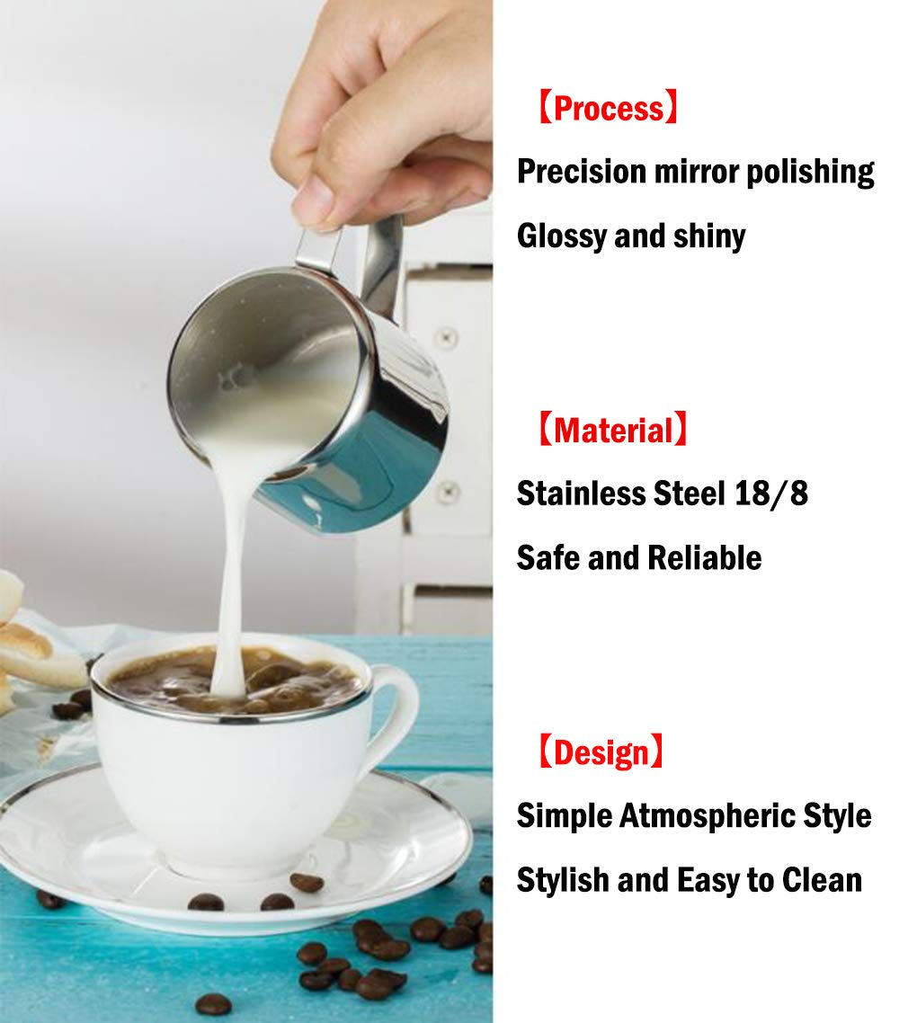 NPYPQ Stainless Steel Milk Pitcher Espresso Steaming Pitcher Cup 1 Ounce Frothing Pitcher