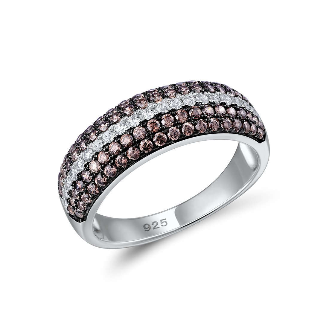 Santuzza 925 Sterling Silver Ring For Women Chocolate Cubic Zirconia Round Ring Party Fine Jewelry (6) by Santuzza (Image #1)