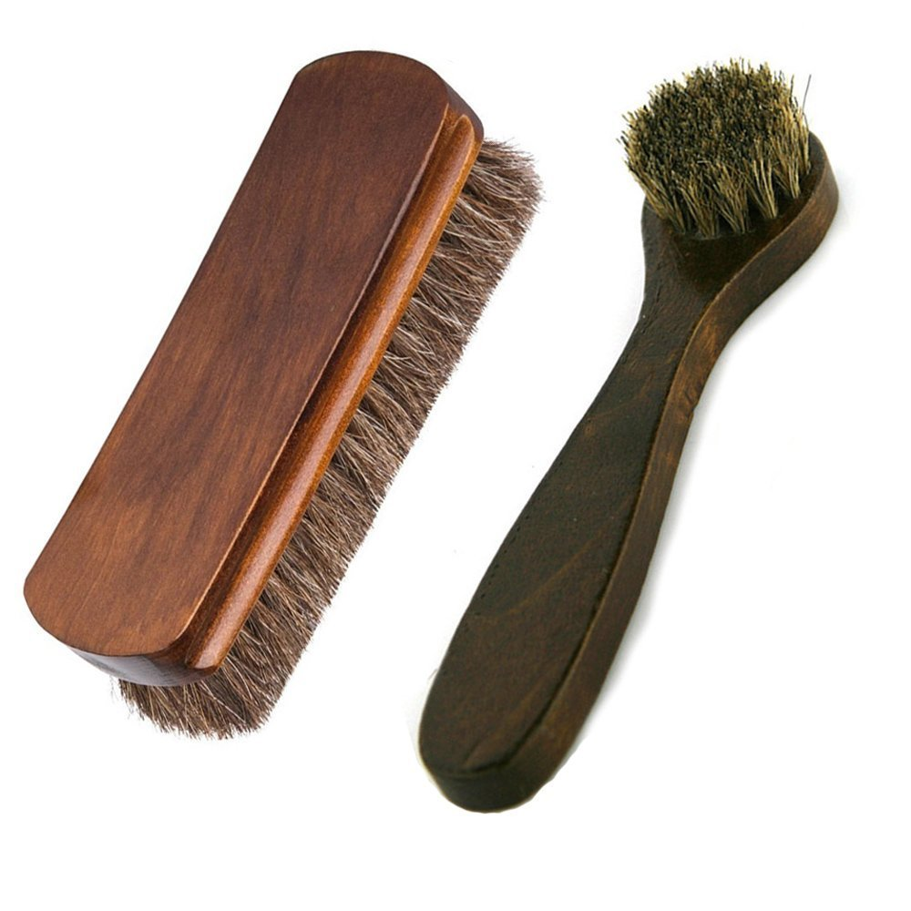 Horsehair Shoe Brushes YuYiF Large Shoe Shine Clean Brush Long Handle Dauber Brush for Leather Care 6.7''