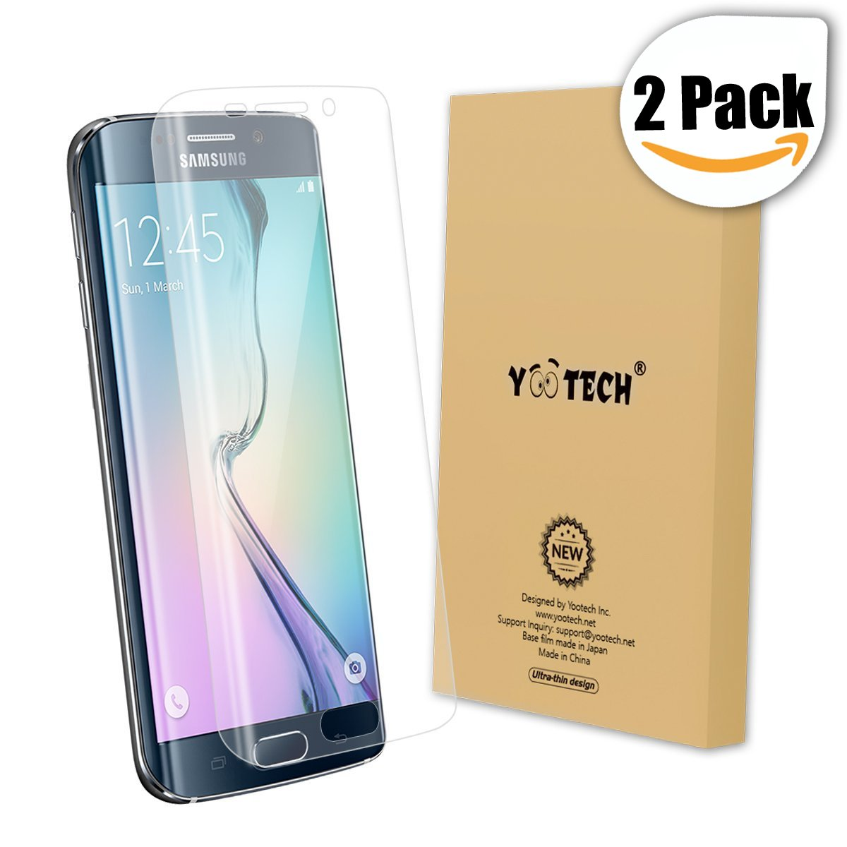 Galaxy S6 Edge Screen Protector,Yootech [2-Pack] Samsung Galaxy S6 Edge Screen Protector, Premium HD Clear Film with Free Lifetime Replacement Warranty