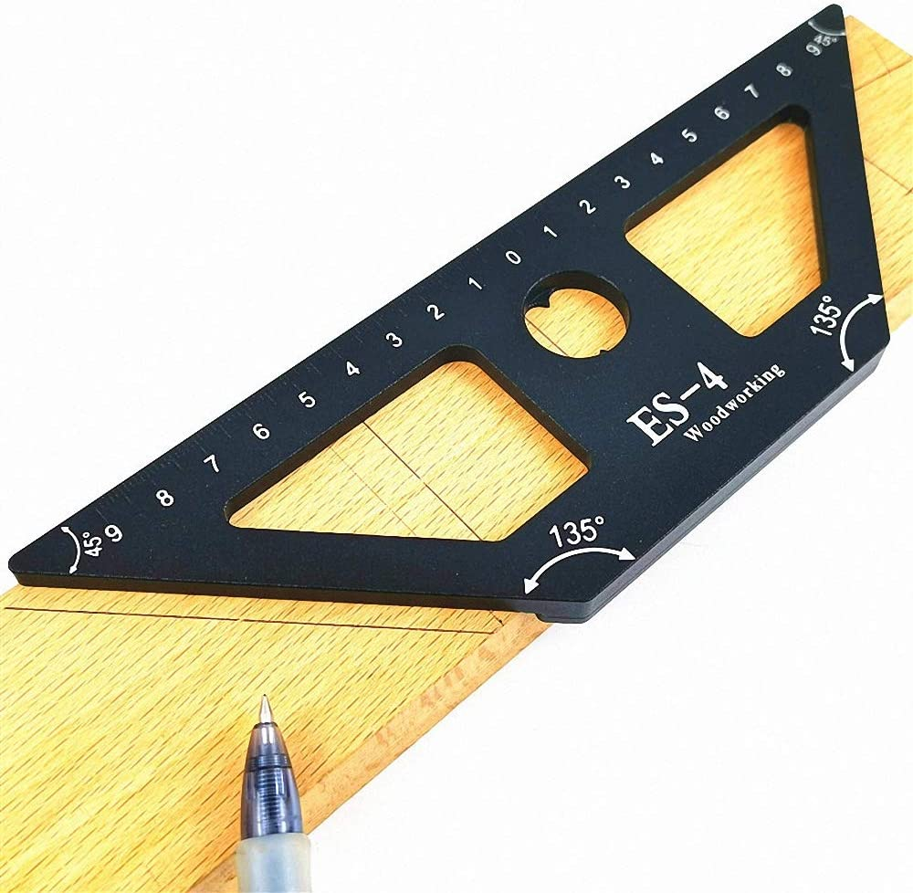 Woodworking Line Scribe Ruler Aluminum Alloy Multi-angle Gauge Divider Calipers Measuring Tools 45 Degree Scribe ES-4