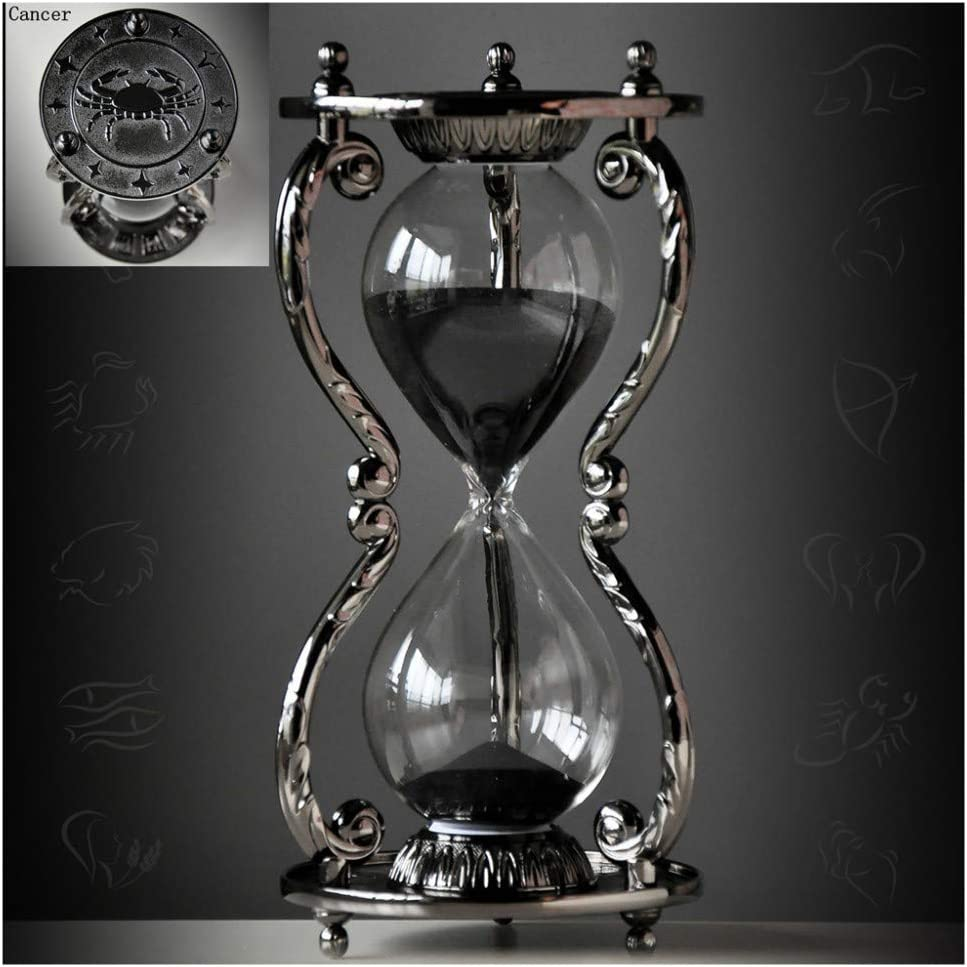 Black Antique Decorative Hourglass Sand Timer - 30 Minute, Unique Vintage 12 Constellations Metal Art Hour Glass for Office Desk Home Decor - Birthday Gift,Cancer