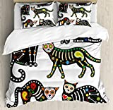 Ambesonne Sugar Skull Decor Duvet Cover Set Queen Size, Calavera Ornate Black Cats in Mexican Style Holiday the Day of the Dead, Decorative 3 Piece Bedding Set with 2 Pillow Shams, Multicolor