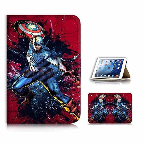(for iPad Mini 1 2 3, Generation 1/2/3) Flip Case Cover & Screen Protector Bundle - A21012 Captain America (Ipad 2 Mini Captain America)