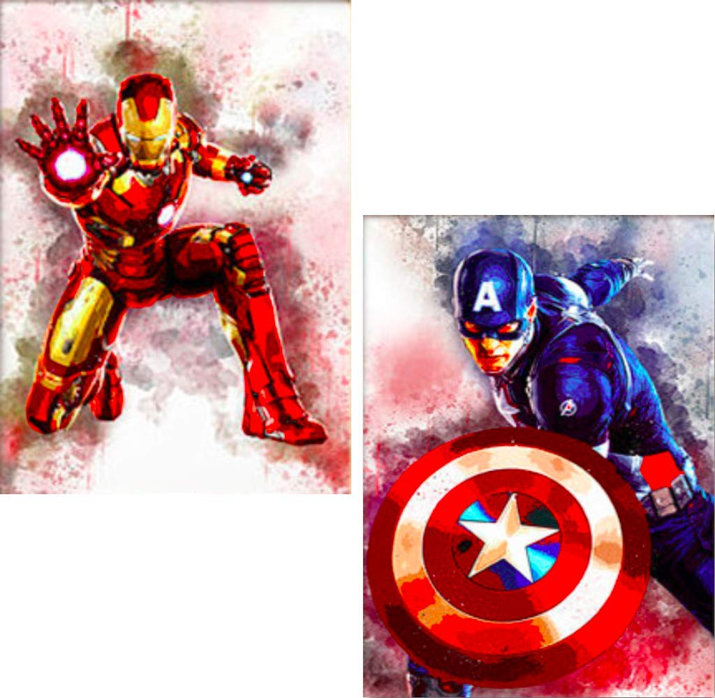 2 Pack DIY 5D Diamond Painting Kits for Adults Full Drill, Paintings Pictures Arts Craft for Home Wall Decor,5D Painting Diamonds Kit Iron Man and Captain America (Round Beads 12 x 16 in)