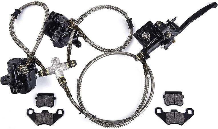 ATV Quad Rear Hand Brake Assembly Master Cylinder Caliper Come with Brake Pads for 50cc 70cc 110cc 125cc 150cc Quad Bike ATV Buggy Rear Hydraulic Disc Brake System Caliper PRO BAT Black