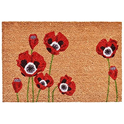"Home & More 104032436 Red Poppies Doormat, 24"" x 36"", Multicolor"