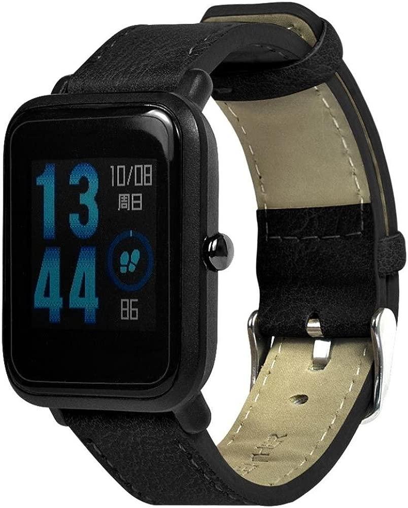 Malloom Pulsera de Cuero de PU de reemplazo Retro Correa para Xiaomi Huami Amazfit Bip Youth Watch (Negro)