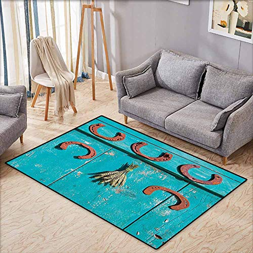 Floor Bath Rug Western Decor Collection Five Antique Rusty Luck Symbol Horseshoe and Wheat Ears Bunch Picture Turquoise Brown Machine wash/Non-Slip W6'8 xL4'9