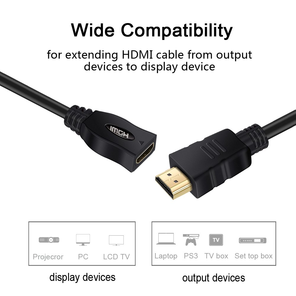 Hdmi Extension Cable Techkey 6 Feet High Speed Wiring Box To Tv Male Female With Ethernet Support 4k Resolution For Blu Ray Player