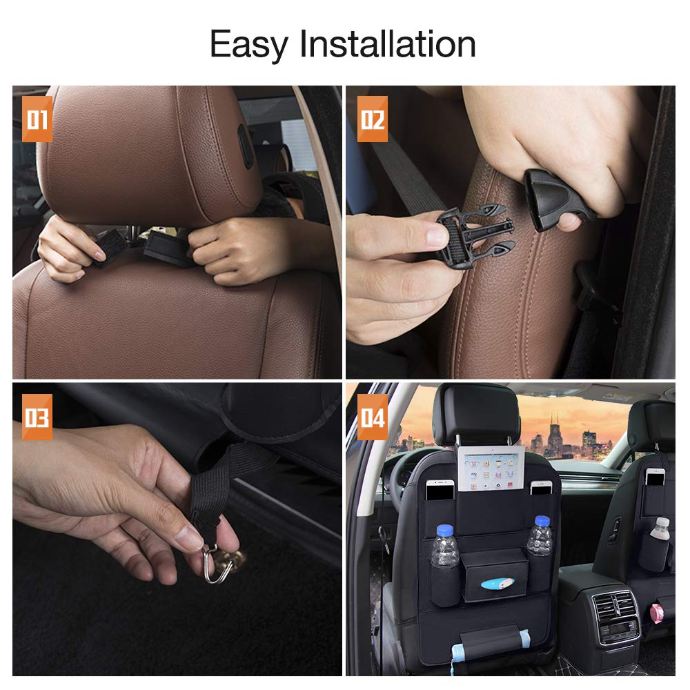 QUEES Backseat Car Organizer Kick Mats Car Seat Back Protectors with 8 Storage Pockets Back seat Organizer for Kids Toy Bottle Drink Vehicles Travel Accessories (1 Pack)