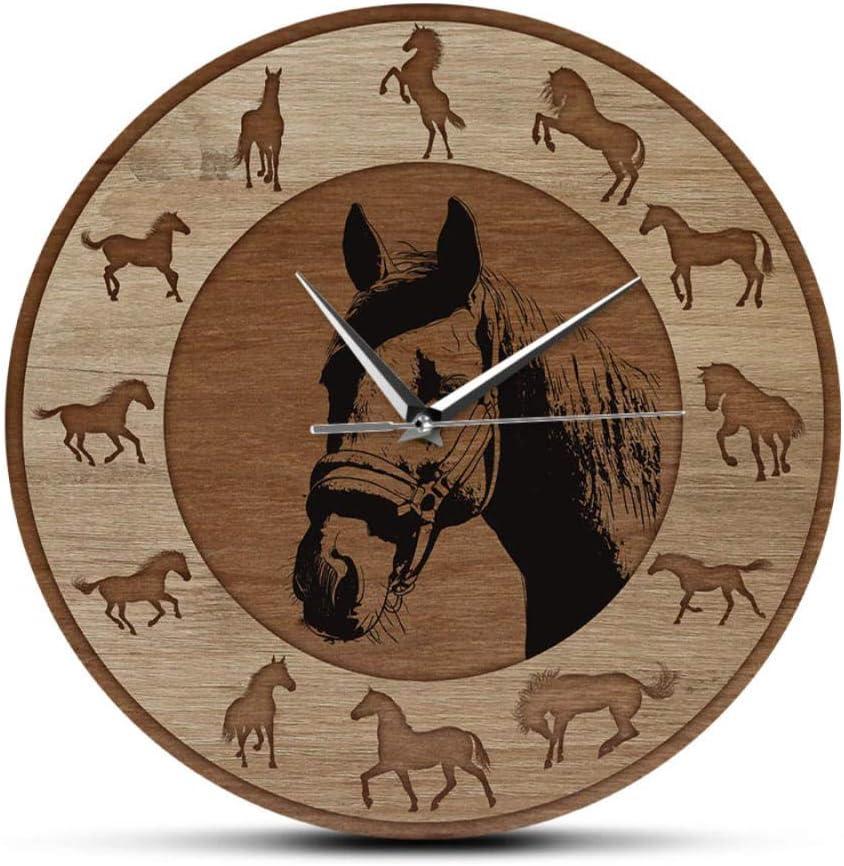 Farmhouse Style Horse Silhouettes Wall Clock Wood Grain Texture Printed Wall Clock Running Horses Art Home Decor Equestrian Gift