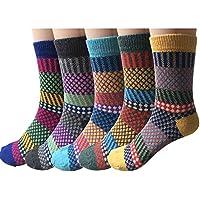 5pares de calcetines de lana tejidos de estilo clásico, gruesos, de invierno, cálidos, para mujer.