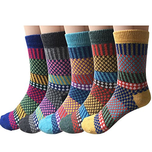 Pack of 5 Womens Vintage Style Cotton Knitting Wool Warm Winter Fall Crew Socks, Mixed color 2, One - Fall Style Women