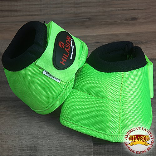 (HILASON Large Horse Ballistic Overreach NO Turn Bell Boots Lime Green)